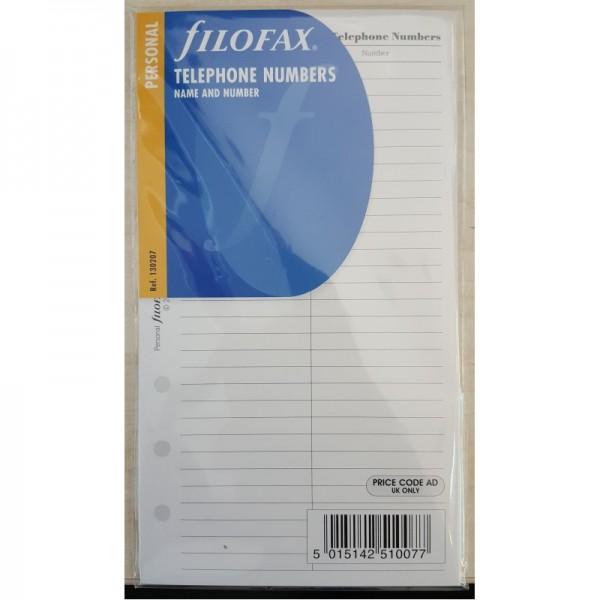 FILOFAX PERSONAL TELEPHONE NUMBERS