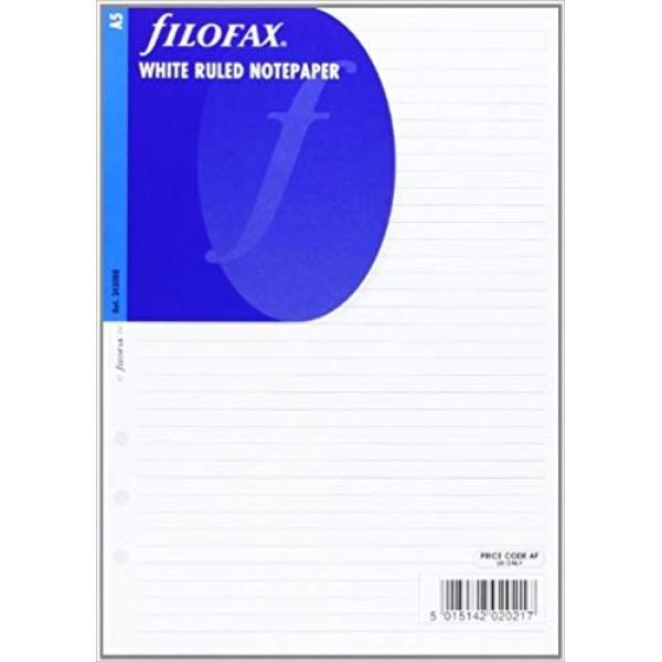 FILOFAX A5 WHITE RULED NOTEPAPER