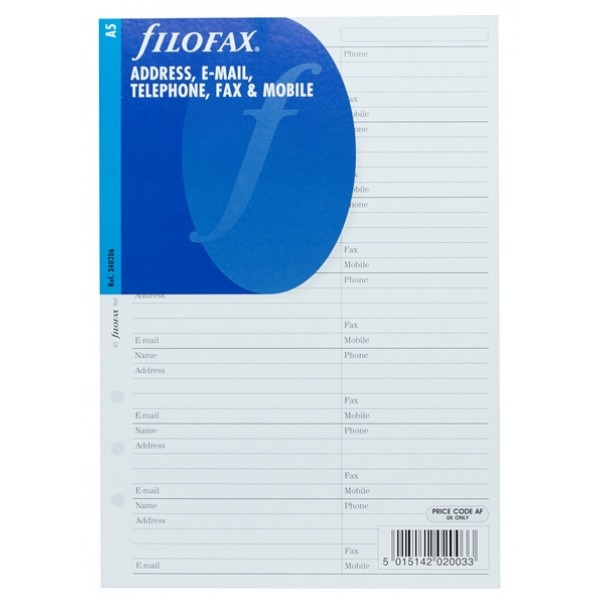 FILOFAX A5 ADDRESS, E-MAIL TELEPHONE, FAX & MOBILE